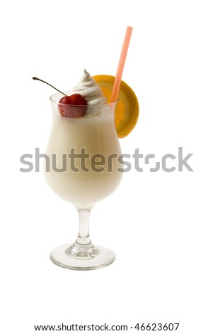 Pina Colada mixed drink with fruit garnish on white background