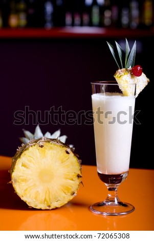 Pinacolada milk cocktail on table in restaurant - stock photo