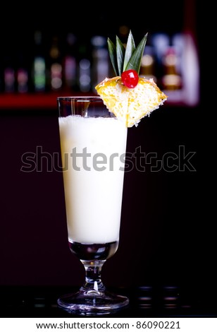 Pinacolada milk cocktail on table in restaurant