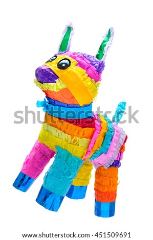 Pinata, Mexican traditional crafted toy very popular in posadas and parties, white isolated - stock photo