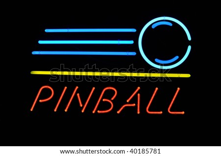 pinball neon sign - stock photo