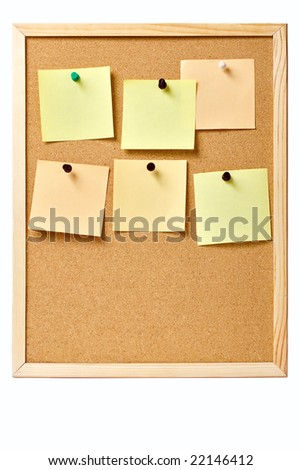 Pinboard with pinned notes, useful as website template - stock photo