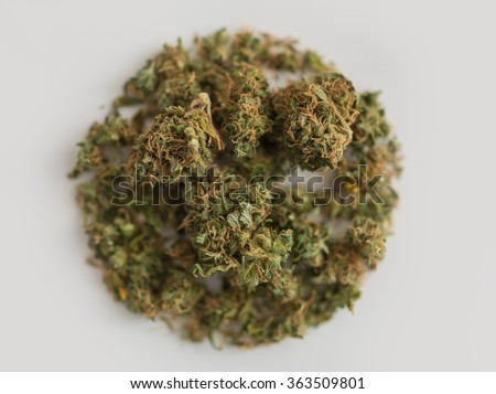 Pinch of Cannabis in circle shape on white background - stock photo