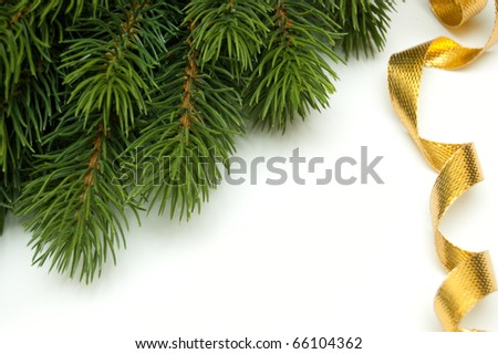 pine branch in the corner and golden ribbon on white background - stock photo