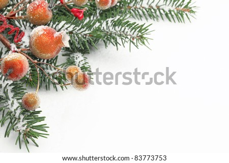 Pine branches and berries with snow for Christmas border. - stock photo