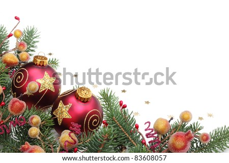 Pine branches,berries and balls for Christmas border. - stock photo