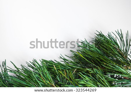 pine branches New Year background ball cones