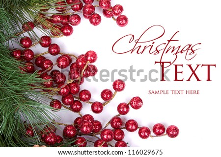 Pine branches with Christmas berries on white - stock photo