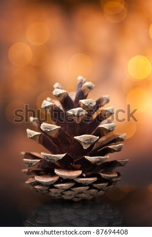 Pine cone against soft defocused background. Christmas decoration. - stock photo