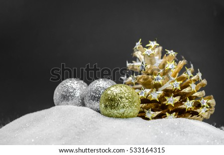 pine cone? Christmas decoration on dark background.