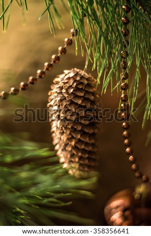 Pine cone on a Christmas tree