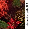 Pine cone, pine tree branch and poinsettia flower. - stock photo