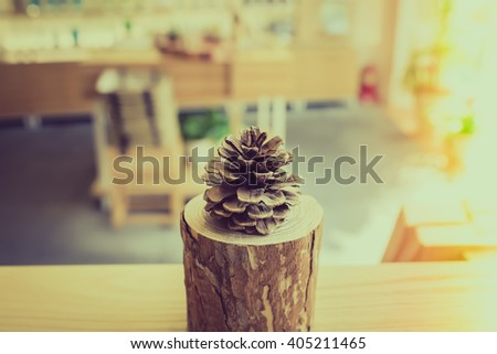 Pine cone the wooden in Health Beauty shop. Vintage and light leak effect. - stock photo