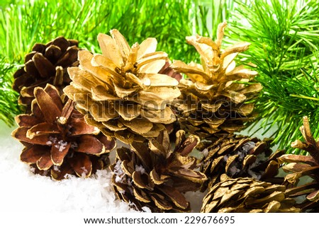 Pine cones and pine branches. Christmas and new year background - stock photo