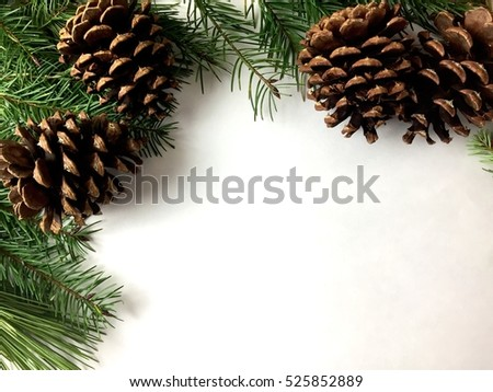 Pine cones and pine garland on a white background with copy space