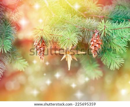 Pine cones on Christmas tree - stock photo