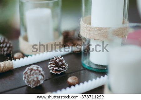 pine cones wedding reception - stock photo