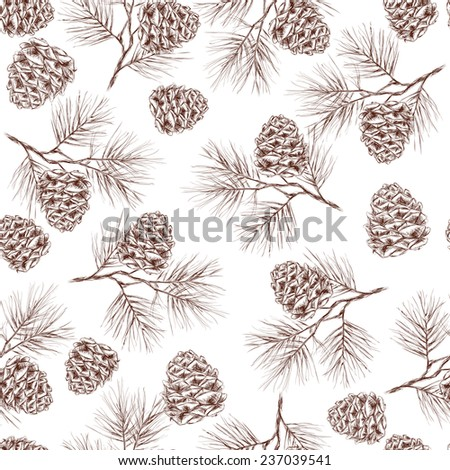 Pine fir christmas tree cedar spruce and cones seamless pattern  illustration - stock photo
