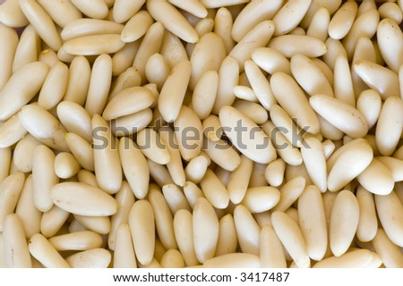 Pine nuts Background Close Up - stock photo
