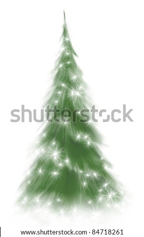 pine or Christmas tree decorated with stars of lights and soft snow illustration, isolated on white background - stock photo