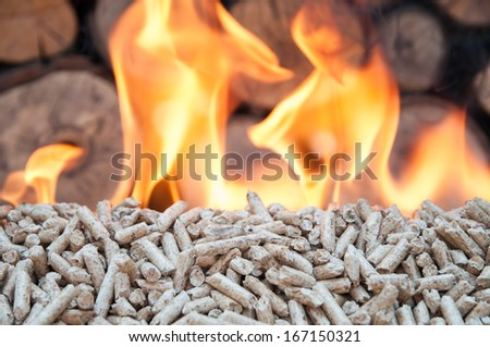 Pine pellets in flames- stock image - stock photo