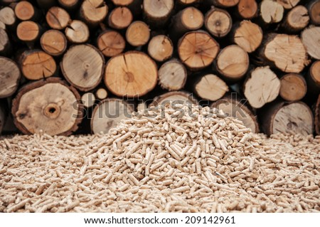 Pine pellets in front a wall of fire woods - stock photo