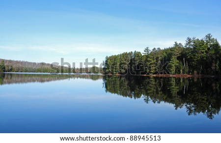 Pine trees and blue sky reflected in north woods lake, Wisconsin - stock photo