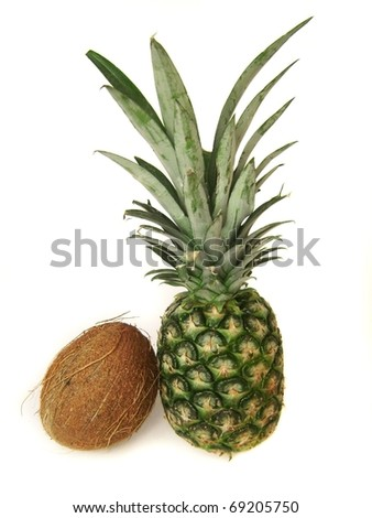 Pineaple and coconut isolated on white background - stock photo