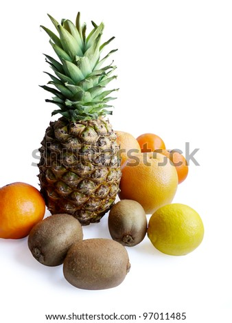 Pineapple and summer fruit composition isolated on white background. - stock photo