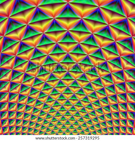 Pineapple Chunk / A digital abstract fractal image with a pineapple like Fibonacci design in green blue yellow and red.  - stock photo