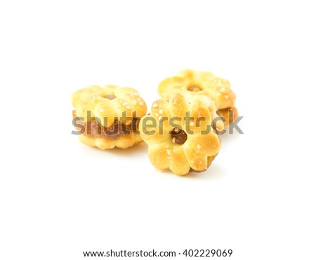 Pineapple Cookies  on white background, Thai snack food - stock photo