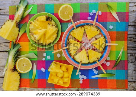 Pineapple - delights with pineapple - stock photo