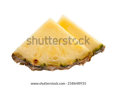 Pineapple fruit closeup isolated on white - stock photo