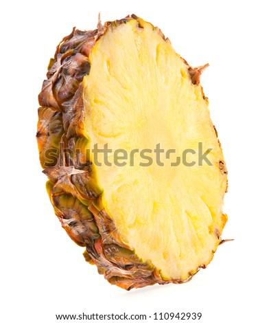 Pineapple fruit slice isolated on white - stock photo