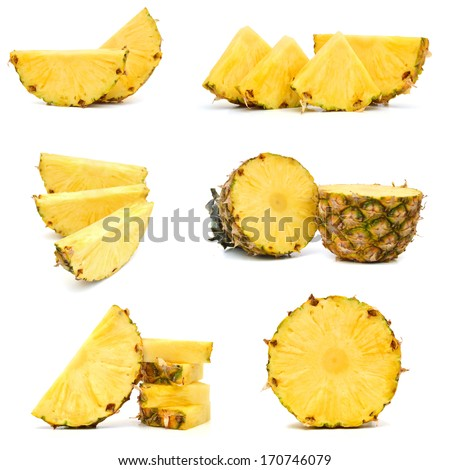 Pineapple fruit slice isolated on white  - stock photo