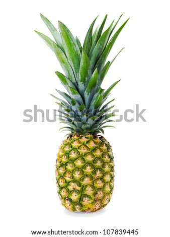 Pineapple isolated on white background. - stock photo