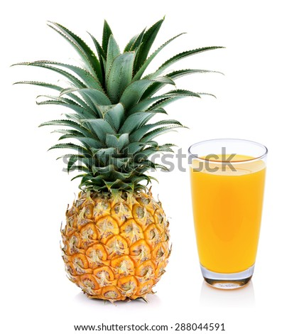Pineapple juice and pineapple isolated on white - stock photo