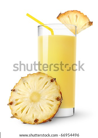 Pineapple juice and slices of pineapple isolated on white - stock photo