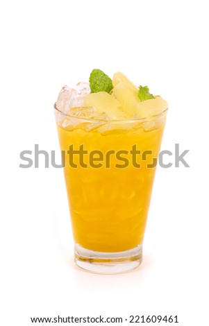 pineapple juice in a glass isolated on white background - stock photo