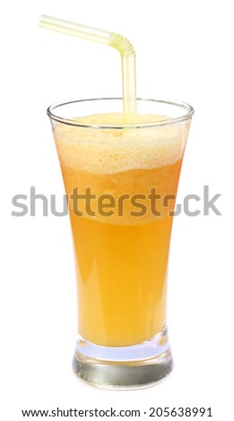 Pineapple juice in a glass over white background