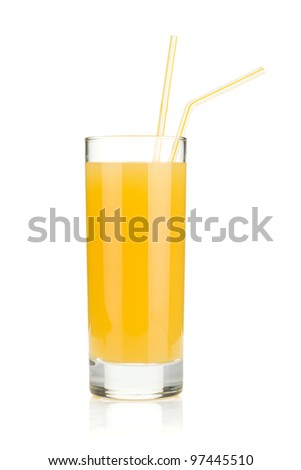 Pineapple juice in a glass with drinking straws. Isolated on white background - stock photo