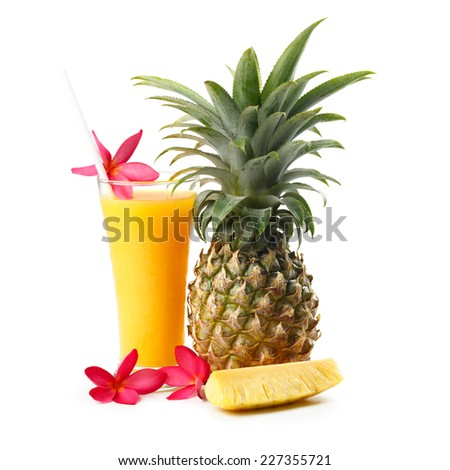 Pineapple juice, Isolated over white - stock photo