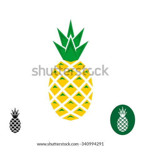 Pineapple logo. Geometric sharp corners style logo. Color and monochrome versions. - stock photo