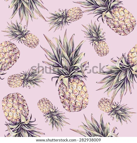 Pineapple on a pink background. Watercolor colourful illustration. Tropical fruit. Seamless pattern. Summer print - stock photo