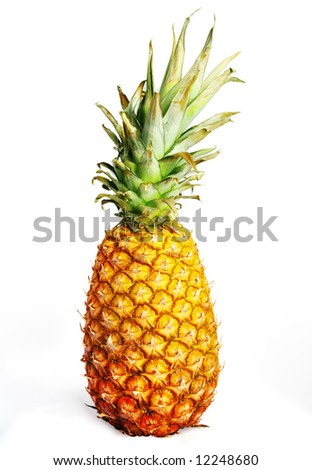 Pineapple on the white with clipping path