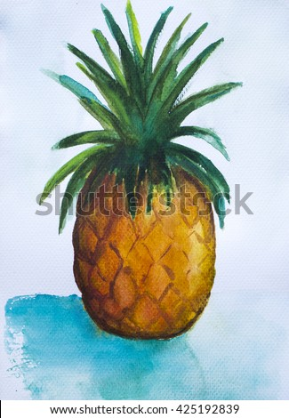 Pineapple painting on white background, hand-painted pineapple, exotic fruit, watercolor painting pineapple, ripe pineapple watercolor painting, orange pineapple painted, tropical fruit illustration  - stock photo