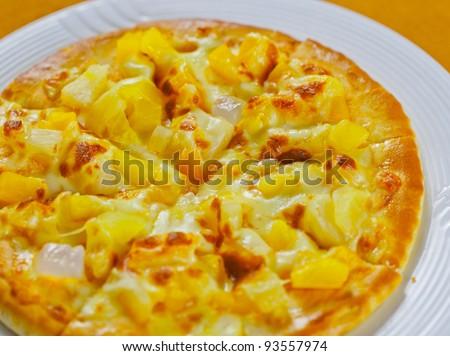 pineapple pizza - stock photo