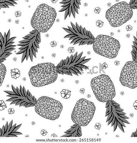 Pineapple seamless pattern. Graphic stylized drawing illustration. Raster version. - stock photo