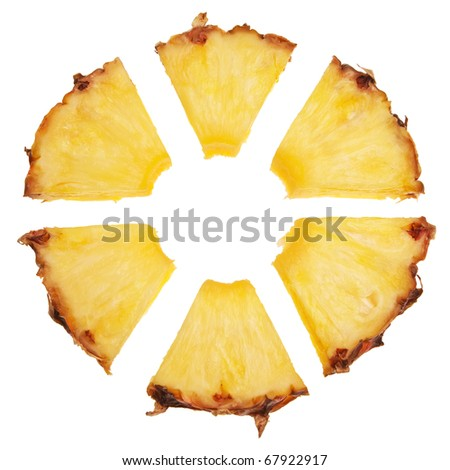 Pineapple slice cut into radial segments isolated over white background. - stock photo