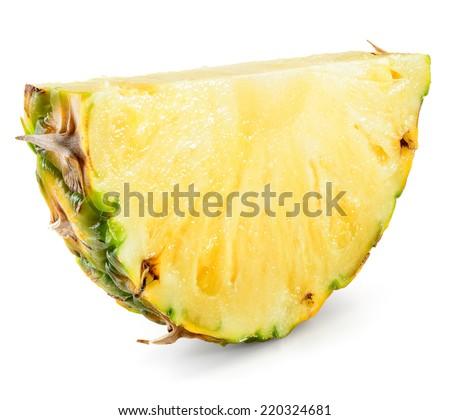 Pineapple slice isolated on white background.  - stock photo
